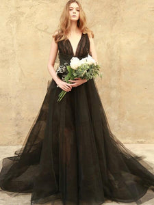 Newest Black Long A Line V-Neck Prom Dress, 2019 New Prom Dress