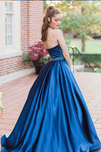 Sleeveless Royal Blue A Line Long Evening Party Prom Dress