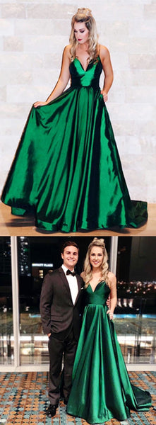 Blackish Green Satin Long Prom Dress, Prom Dress A Line