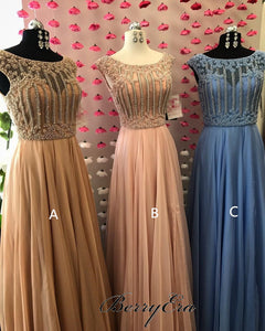 Cap Sleeves Beaded Chiffon Prom Dresses, A-line Prom Dresses, Long Prom Dresses