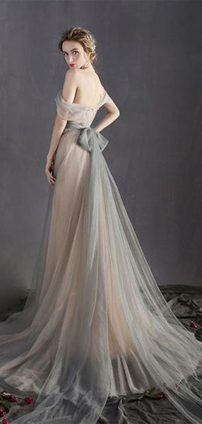 Off the Shoulder Long A Line Prom Dress, Tulle Long Dress