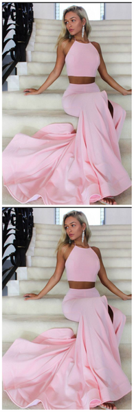 New Arrival Halter Slit Pink Mermaid 2 Pieces Elegant Long Prom Dress