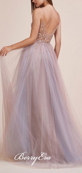 V-neck Light Purple Tulle Beaded Long Prom Dresses