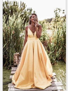 2019 V-Neck Satin Long Prom Dress, A-line Prom Dress, Prom Dress
