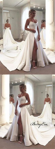 Strapless Long A-line Ivory Satin Slit Wedding Dresses, Bridal Gown