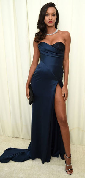 Sweetheart Long Mermaid Side Slit Navy Lace Prom Dresses