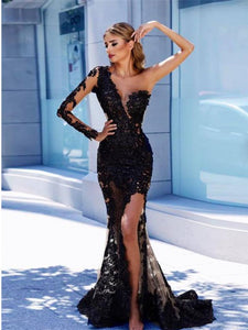 One Shoulder Sleeve Black Lace Long Prom Dress,2019 New Prom Dress