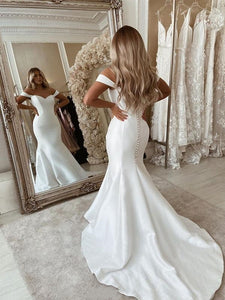 Off Shoulder Long Mermaid Ivory Satin Wedding Dresses, Simple Wedding Gown, Bridal Gown