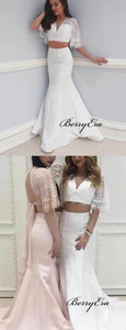 Two Pieces Lace Top Prom Dresses, Mermaid Satin Prom Dresses, Popular Prom Dresses