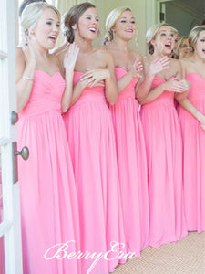 Sweetheart Strapless A-line Pink Chiffon Bridesmaid Dresses