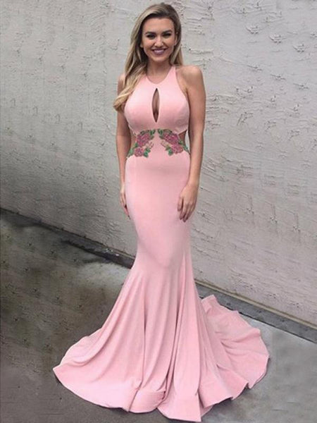 Backless Sexy Applique Halter Mermaid Long Prom Dresses