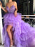 Hi-low Purple Tulle Lace Beaded Long Prom Dresses