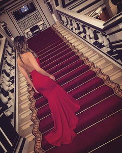 High Neck Red Jersey Sexy Mermaid Prom Dresses