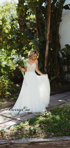 Elegant A-line Lace Tulle Wedding Dresses, Strap Wedding Party Dresses