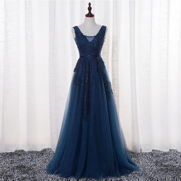 V-neck Lace Beaded Long A-line Tulle Prom Dresses