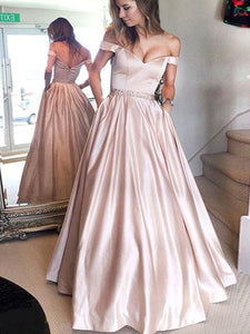 Off Shoulder Pale Pink A-line Satin Beaded Prom Dresses