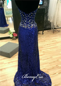Sweetheart Long Mermaid Sequin Rhinestone Prom Dresses