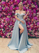 Off Shoulder Light Blue Satin Side Slit Prom Dresses