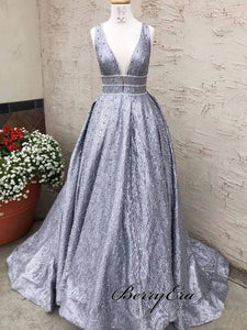 Silver Sequin Lace Beading Ball Gown Prom Dresses, Deep V-neck Sleeveless Prom Dresses