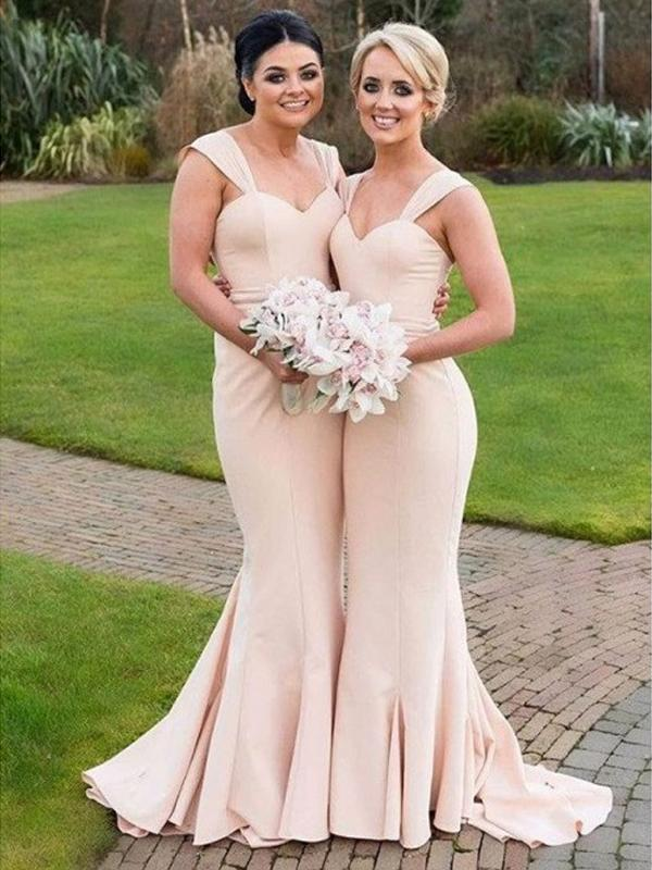 Simple Elegant Long Mermaid Jersey Bridesmaid Dresses