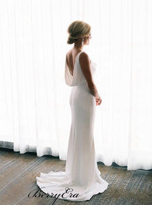 Simple Elegant Ivory Wedding Dresses, Sleeves Mermaid Popular Wedding Dresses