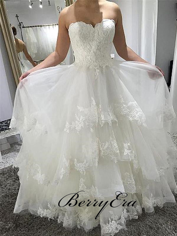 Sweetheart Lace Tulle Fluffy Wedding Dresses, Lace Up Wedding Dresses