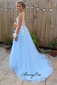 Sky Blue Lace Prom Dresses, School Party Fancy Prom Dresses