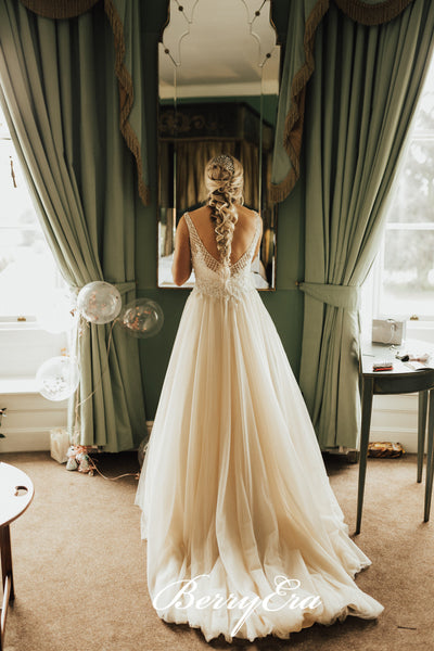 V-neck A-line Beaded Lace Tulle Long Wedding Dresses, Bridal Gown