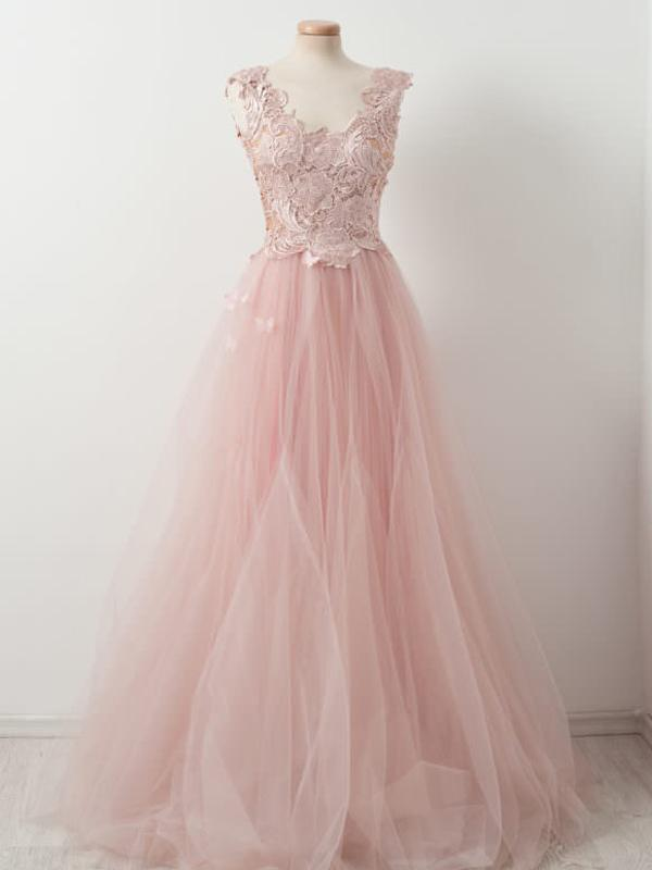 Blush Pink Lace Tulle A-line Prom Evening Dresses