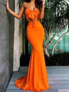Sweetheart Two Pieces Mermaid Sexy Long Bridesmaid Dresses , Prom Dress