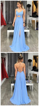 Blue Spaghetti Straps Prom Dresses With Side Slit, Sexy Long Evening Party Prom Dress