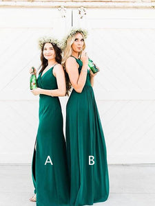Mismatched Dark Green Chiffon Long Bridesmaid Dresses