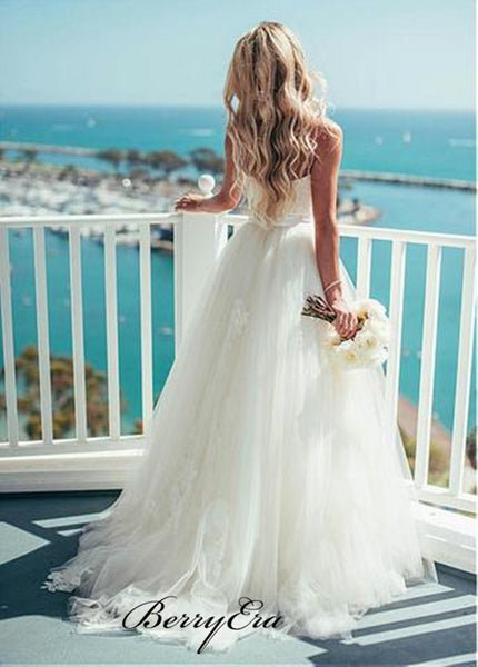 Popular Tulle Spaghetti Straps Wedding Dresses, Newest Wedding Dresses