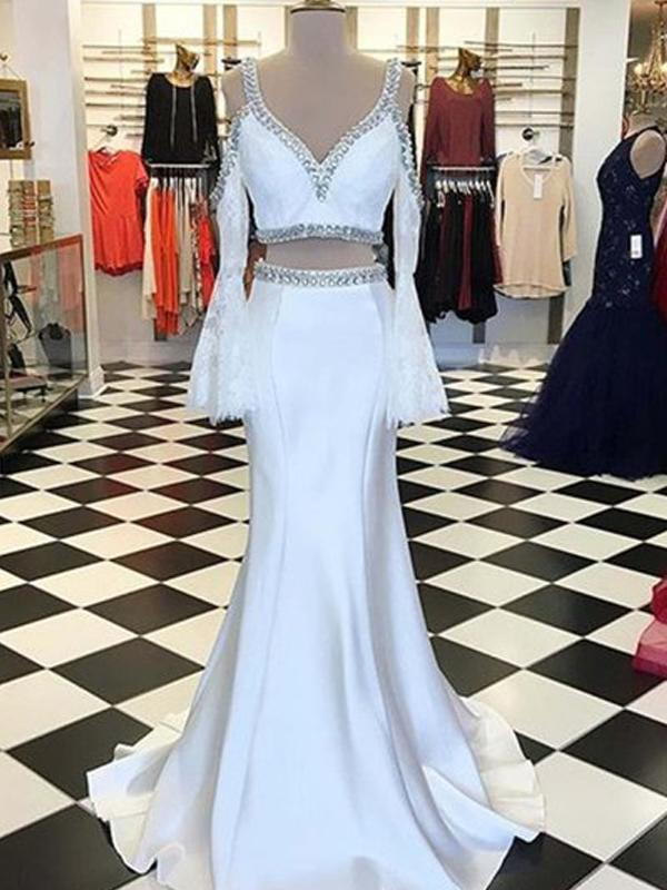 Two Piece Lace Satin Beading Long Sleeve Mermaid prom Dresses