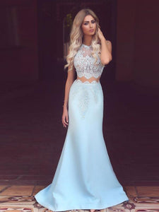 Elegant Charming Light Blue Lace Two Pieces Mermaid Long Prom Dresses