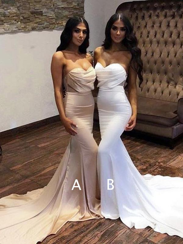 Sweetheart Long Mermaid Wedding Party Dresses, Bridesmaid Dresses