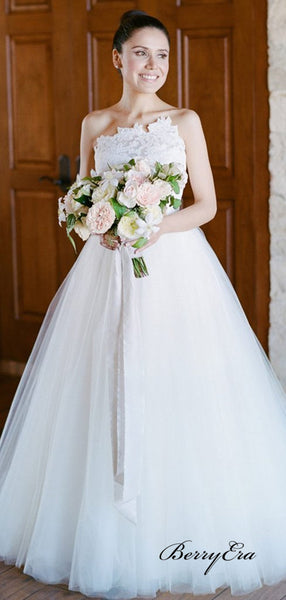 Unique Strapless Lace Tulle Ball Gown Wedding Dresses, A-line Popular Wedding Dresses