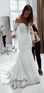 Long Sleeves Mermaid Wedding Dresses, Off Shoulder Wedding Dresses, Lace Bridal Gowns