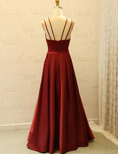 Simple A-line Satin Prom Dresses, Long Prom Dresses, Affordable Prom Dresses