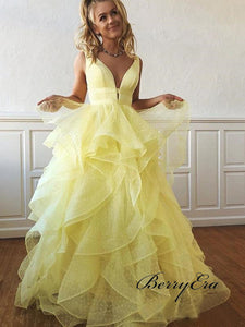 Organza Unique Prom Dresses, Fluffy Prom Dresses, V-neck Prom Dresses