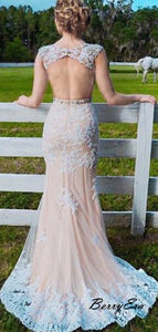 Newest Elegant Open Back Lace Long Prom Dresses, Fancy Prom Dresses 2019