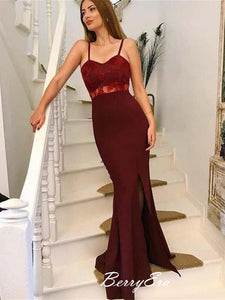 New Popular Simple Design Side Slit Burgundy Lace Long Prom Dresses, Prom Dresses