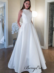 A-line Satin White Wedding Dress with Pockets, Sleeveless Simple Wedding Dresses