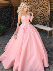 2021 Sweetheart Satin Lace Prom Dresses, A Line Popular Pink Bridal Gowns, Newest Wedding Dresses