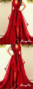 Red Color Organza Long Prom Dresses, V-neck A-line Prom Dresses
