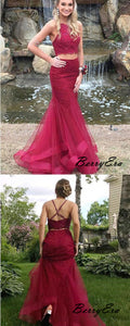 2 Pieces Beaded Fancy Long Prom Dresses, Tulle Evening Party Prom Dresses