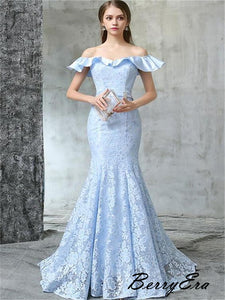 Off The Shoulder Sky Blue Prom Dresses, Lace Mermaid Prom Dresses