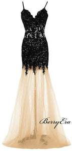 Spaghetti Strap Black Lace Prom Dresses, Mermaid Lace Prom Dresses