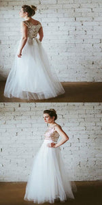 Sequin Top Tulle Skirt Long Bridesmaid Dresses