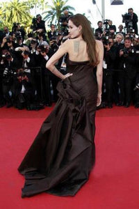 Strapless  Angelina Jolie Inspired High Side Slit Prom Dresses